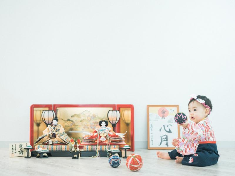 初節句、みつきちゃん!和装ロンパース、雛人形