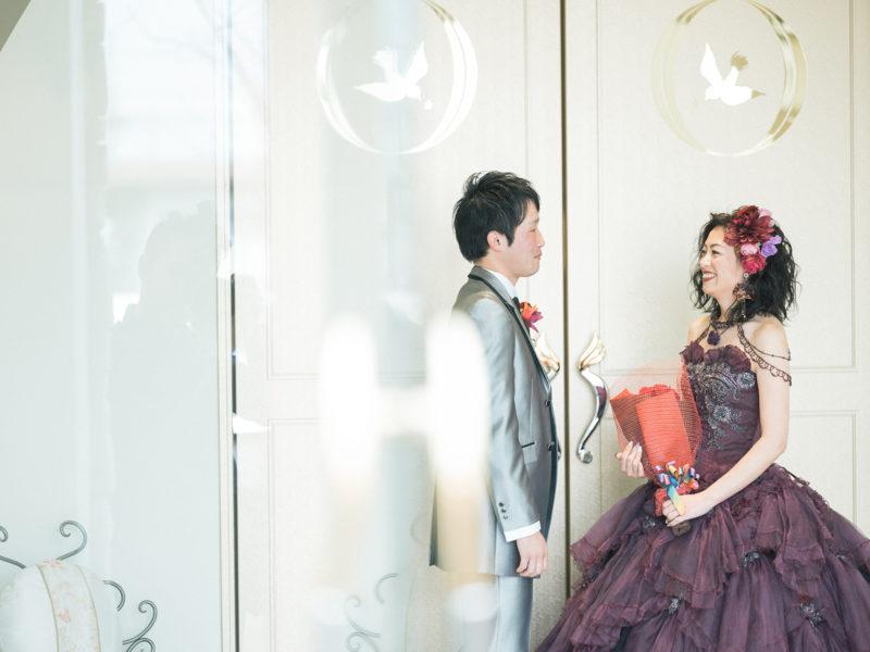 フォトウエディング、カラードレス!バラ