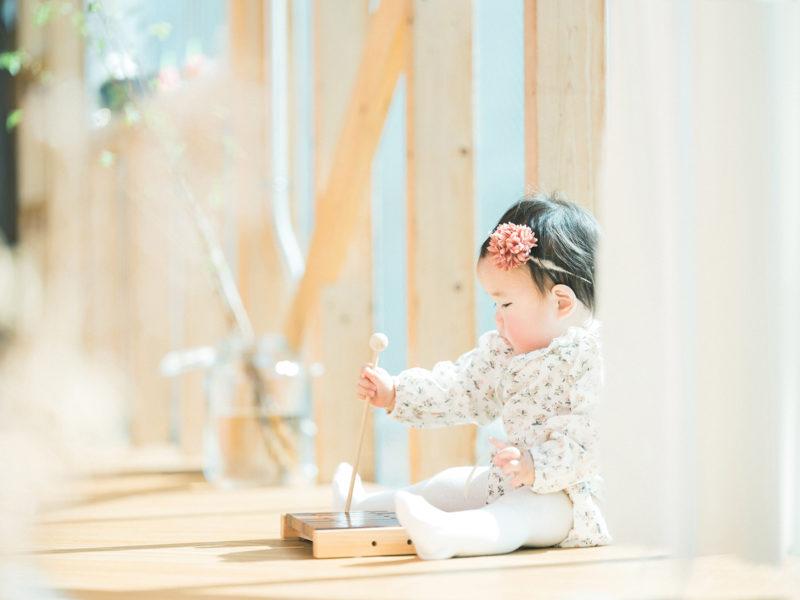 1歳バースデーフォト、ゆなちゃん!遊ぶ