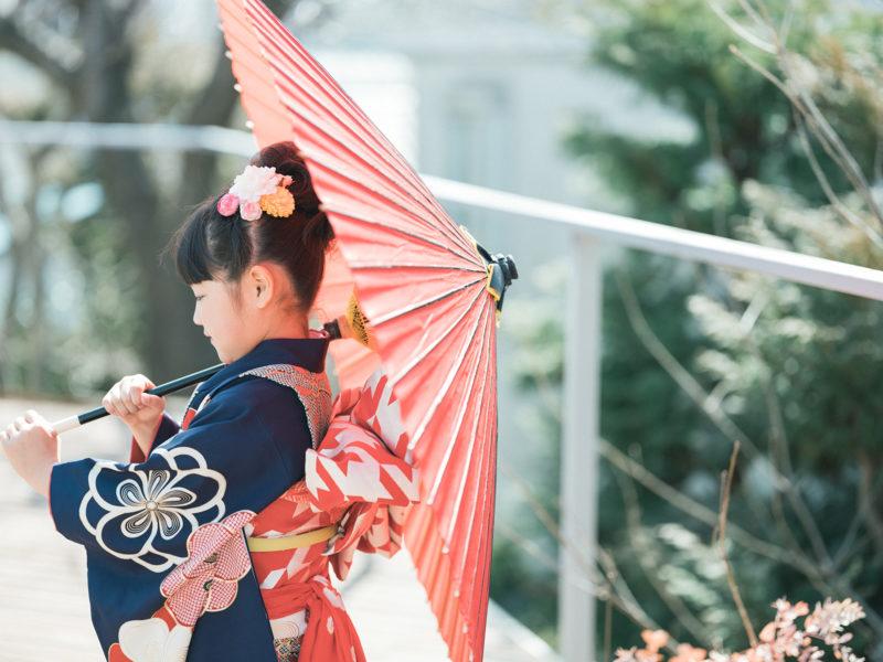 7歳七五三、ときちゃん!番傘、和傘