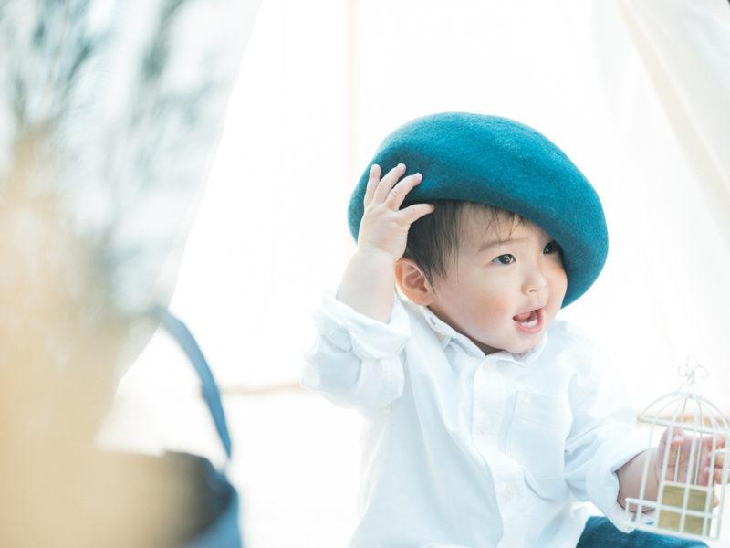 1歳バースデーフォト、れいじくん!お洒落帽子