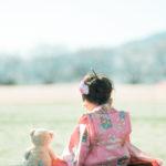 ろまんちっく村、桜ロケーション!3歳七五三、はなちゃん!後ろ姿