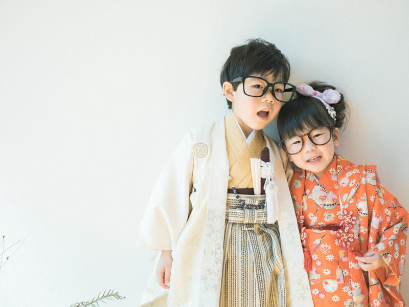 5歳七五三、そうまくん!3歳七五三、ゆなちゃん!お洒落メガネ、兄弟写真