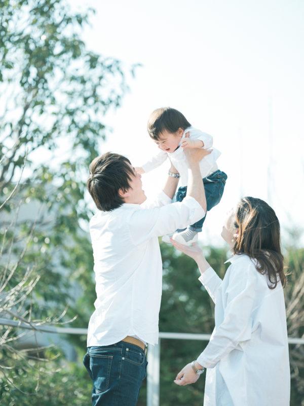 バースデーフォト、はるくん!家族写真、お揃い、高い高い