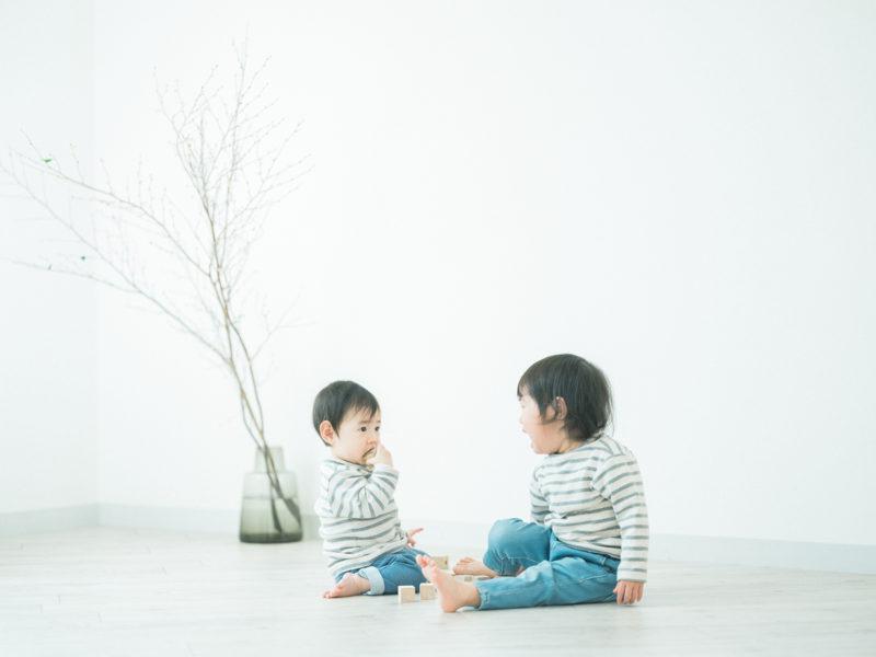 1歳バースデーフォト、あかりちゃん!姉妹写真、お揃いコーデ、ボーダー