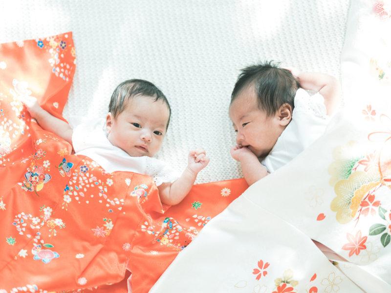 双子、お宮参り、産着