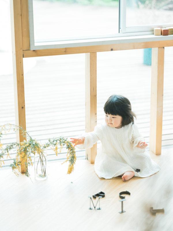 1歳バースデーフォト、ひなみちゃん!ミモザ