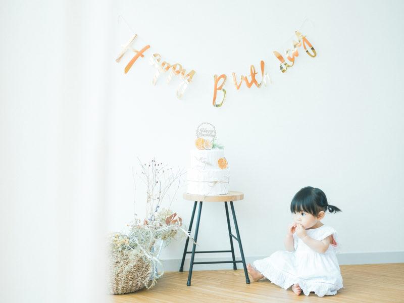 1歳バースデー、ことちゃん!手作りのお洒落なケーキ