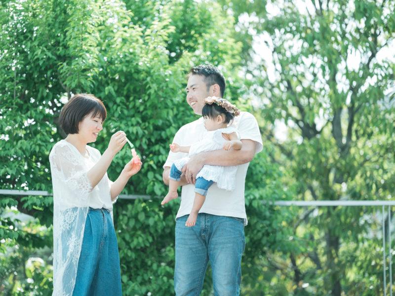 1歳バースデー、ことちゃん!家族写真