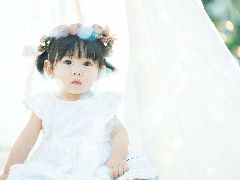 1歳バースデー、ことちゃん!ナチュラルな花冠