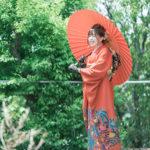 成人式、振袖、番傘、和傘
