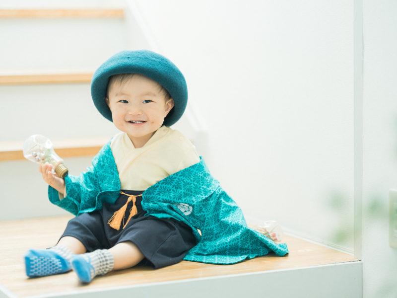 1歳バースデーフォト、ゆうとくん!ロンパース、和装、お洒落帽子