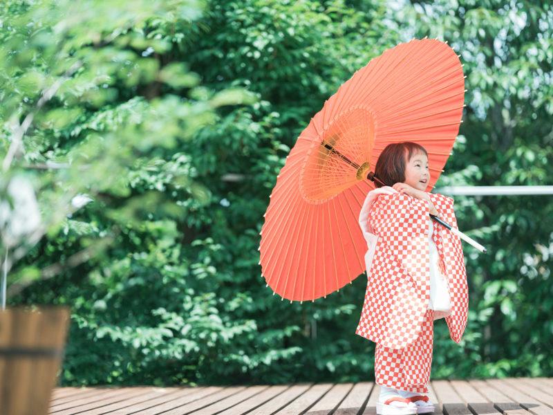 3歳七五三、わこちゃん!番傘