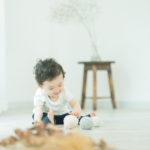1歳バースデーフォト、おとくん!可愛いくせっ毛