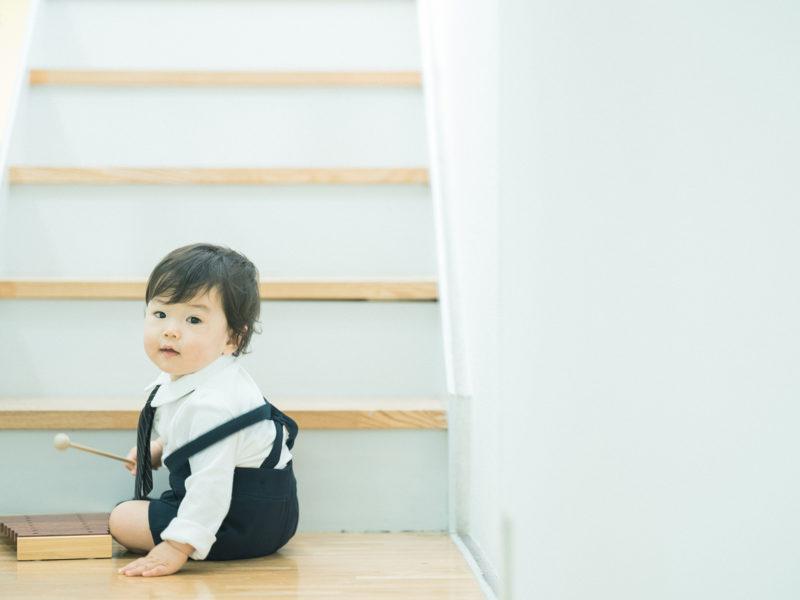 1歳バースデーフォト、けいちゃん!お洒落さん