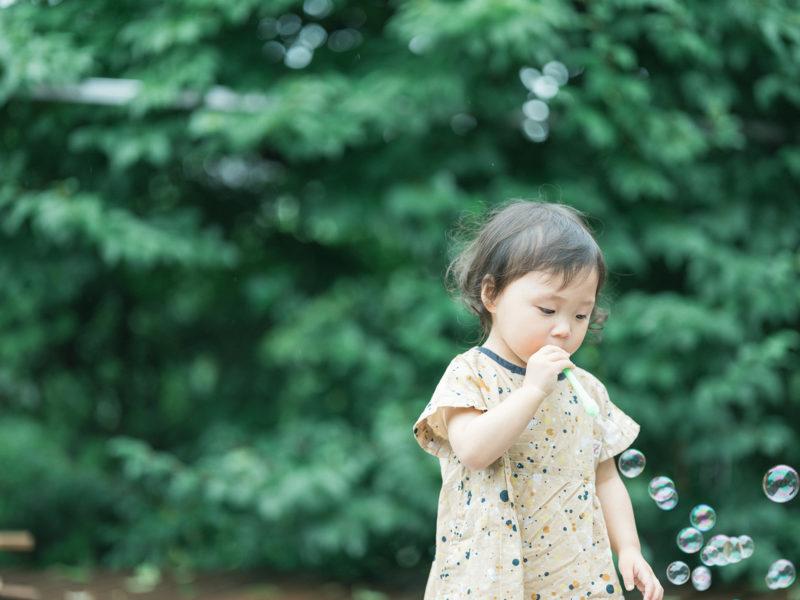 2歳バースデーフォト、つむちゃん!シャボン玉