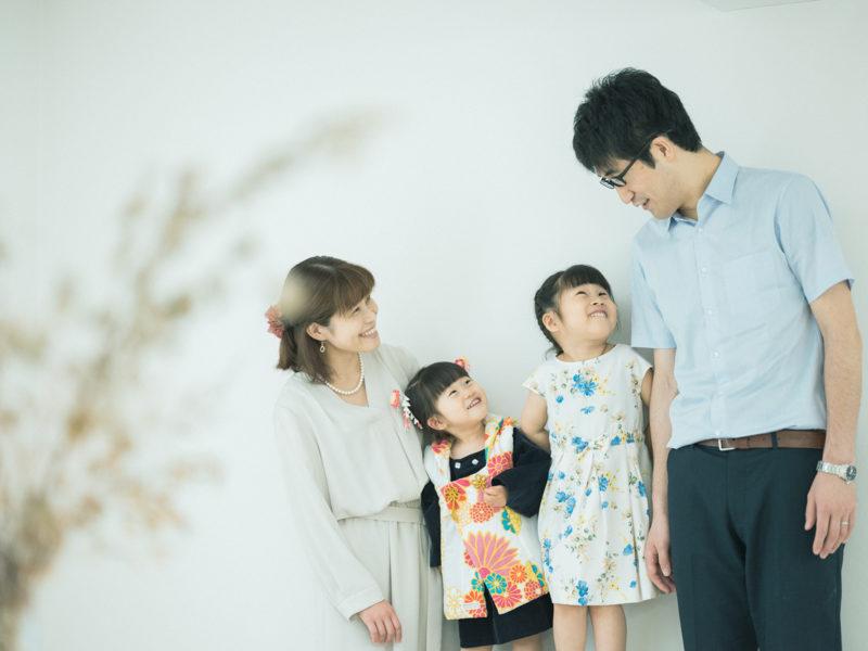 3歳七五三、ふみちゃん!sou・souの着物。家族写真