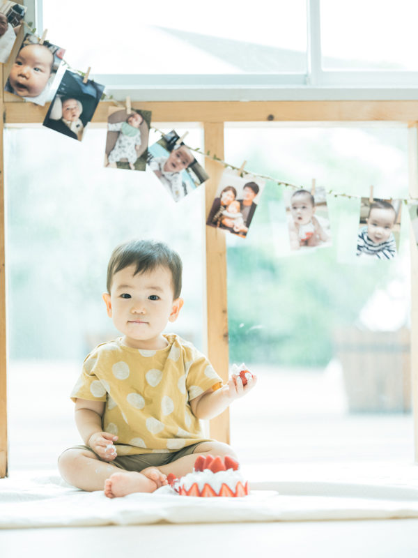 1歳バースデーフォト、こうちゃん!クラッシュケーキ、スマッシュケーキ