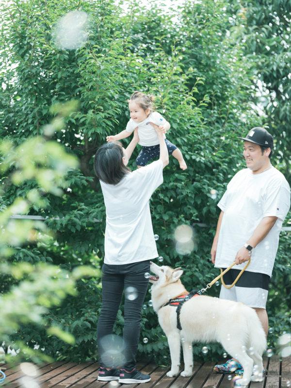 1歳バースデー、まつりちゃん!家族写真、愛犬も