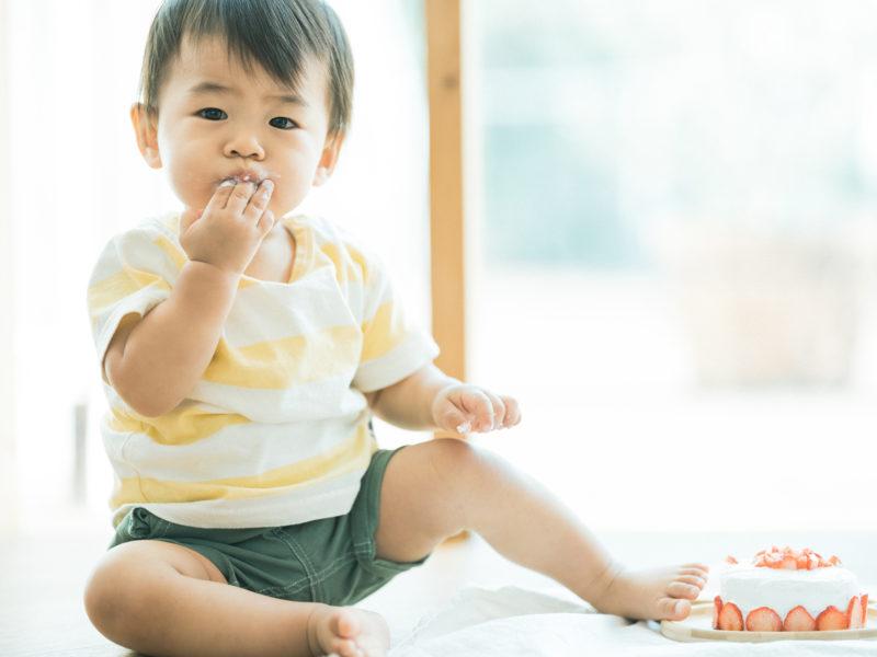 1歳バースデーフォト、たかきくん!スマッシュケーキ、クラッシュケーキ