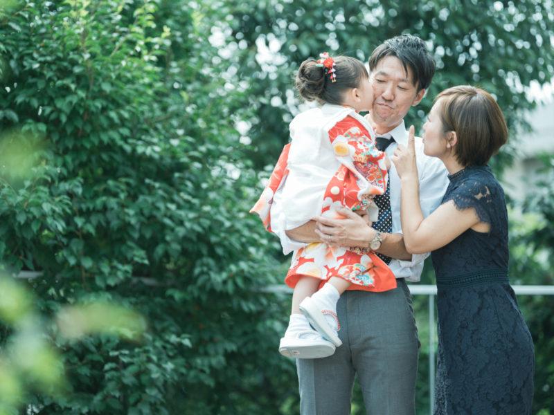 3歳七五三、かほちゃん!家族写真