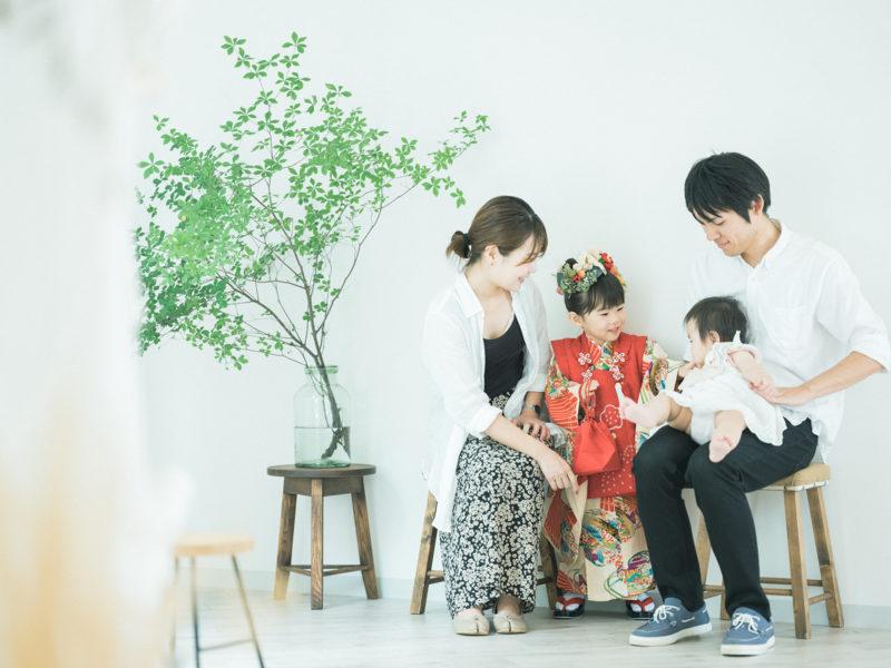 3歳七五三、みれいちゃん!家族写真