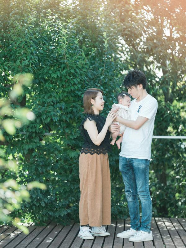 百日祝い、みのりちゃん!家族写真、夕焼け