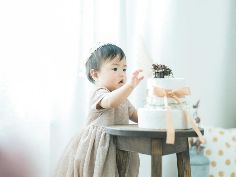 1歳バースデーフォト、はのんちゃん!クレイケーキ