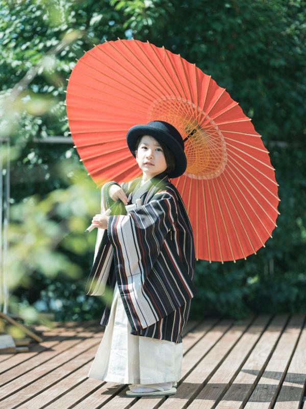 5歳七五三、ともきくん!番傘、ハット