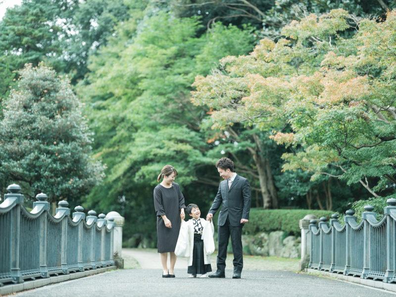 5歳七五三、こうちゃん!中央公園ロケ!家族写真