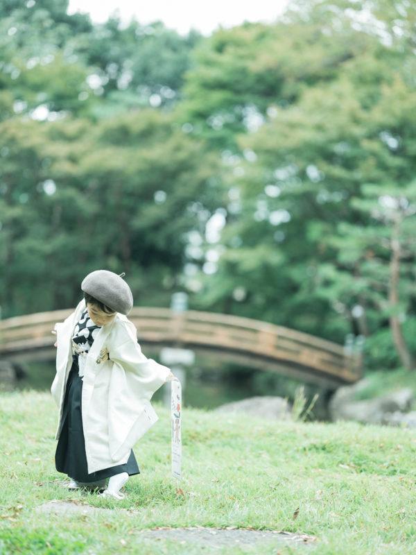 5歳七五三、こうちゃん!中央公園ロケ!お洒落ベレー帽、パパブブレの千歳飴