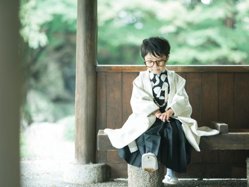 5歳七五三、こうちゃん!中央公園ロケ!お洒落メガネ