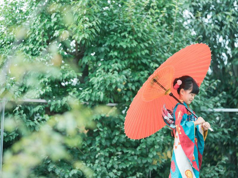 7歳七五三、みこちゃん!番傘