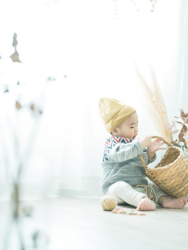 1歳バースデーフォト、かんすけくん!可愛いニット帽