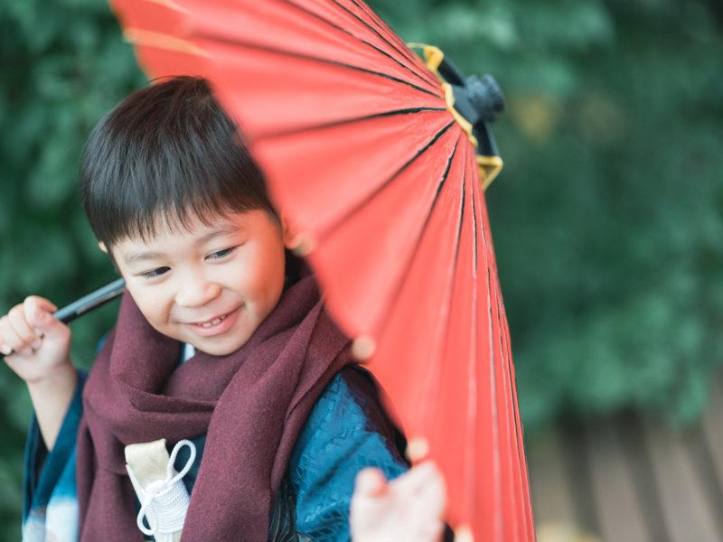 5歳七五三!ひーくん、番傘