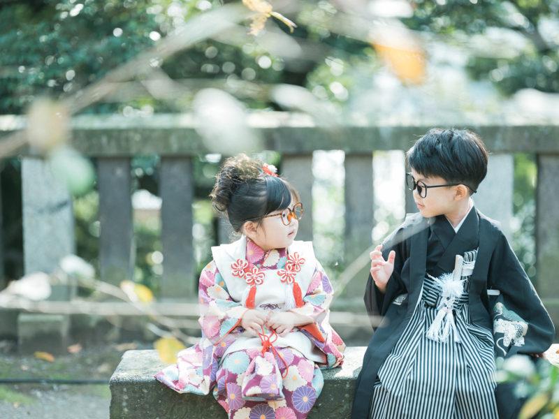 宇都宮二荒山神社、3歳七五三、5歳七五三、兄弟写真、お洒落メガネ