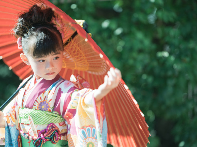7歳七五三、あやちゃん!番傘