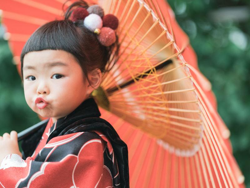 3歳七五三、つむつむ!番傘、可愛い