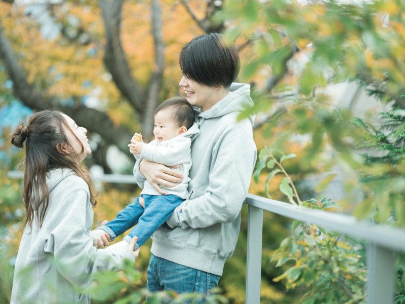 1歳バースデーフォト、りんちゃん!家族写真、紅葉
