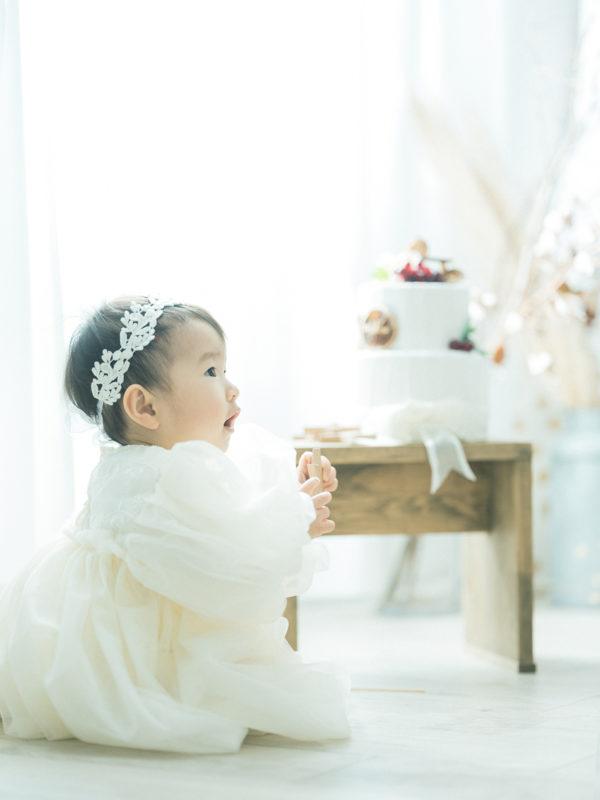 1歳バースデーフォト、りんちゃん!ドレス
