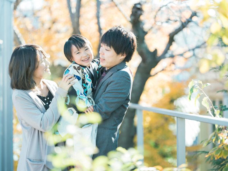 5歳七五三、ゆづきくん!家族写真