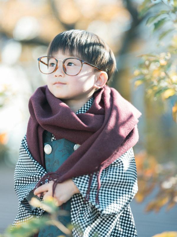 3歳男の子の七五三、そうすけくん!お洒落メガネ