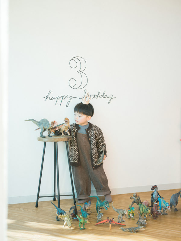 3歳バースデーフォト、そうすけくん!恐竜