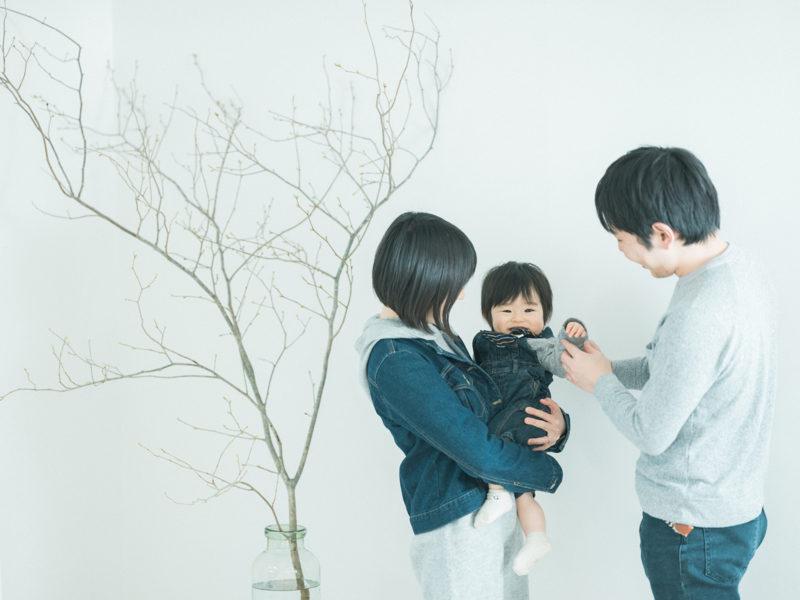 1歳バースデーフォト、ゆうちゃん!家族写真、季節の枝物