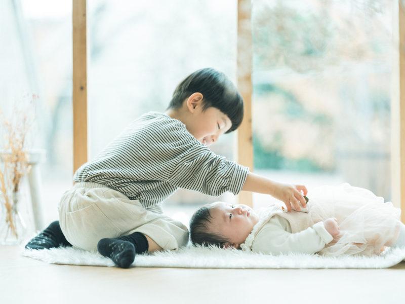 お宮参り、100日祝い!なぎちゃん!兄弟写真