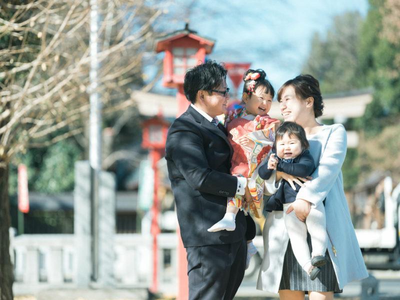 小山市、須賀神社、3歳七五三、すーちゃん!家族写真、可愛い