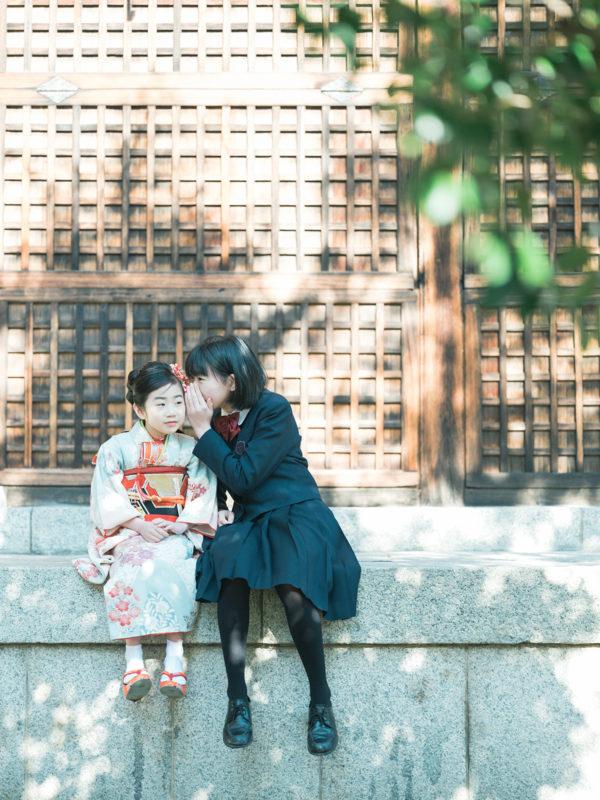 7歳七五三、護国神社ロケ、ゆうりちゃん!姉妹写真