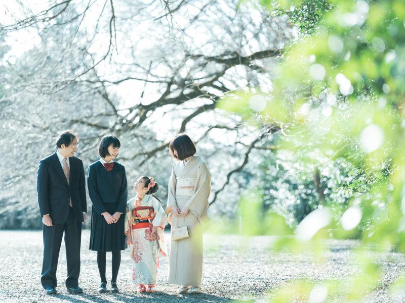 7歳七五三、護国神社ロケ、ゆうりちゃん!家族写真