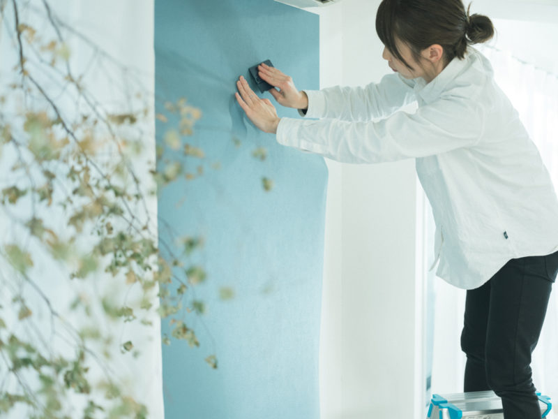 壁紙DIY!1Fブルー、はりはり