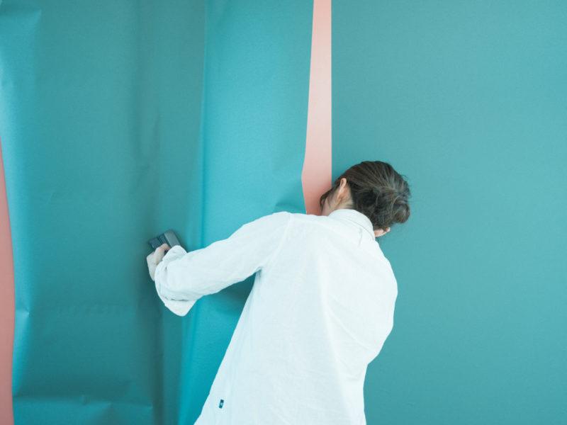 壁紙DIY!2Fグリーン、はりはり